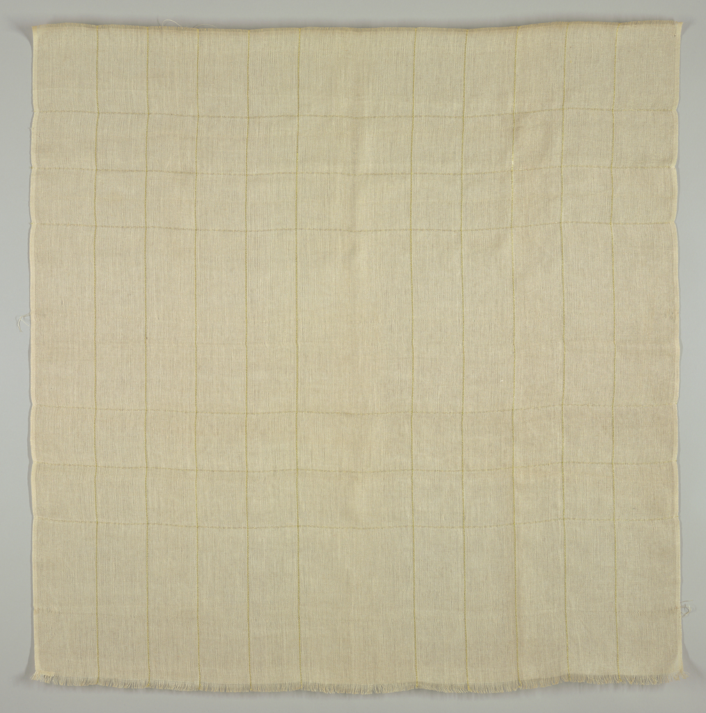 Length of curtain fabric in a loose weave with wefts and alternate warps grouped to form small open spaces. Two gold stripes running horizontally and two running vertically at wide intervals cross perpendicularly and form rectangle with five lines on each long side, two on each short side.