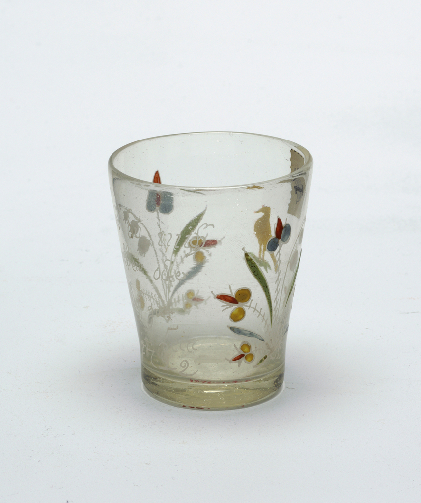 """Clear glass beaker with painted decoration.  """"1722"""" painted on body."""