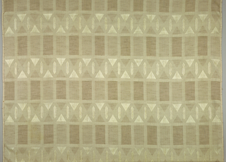 Drapery material with geometric shapes.  Lines of rectangles alternate with lines composed of triangles and polygons.