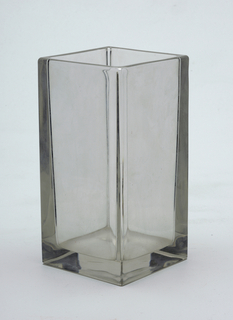 Clear glass square shaped vase