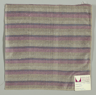 Weft-faced plain weave with doubled wefts in uneven horizontal stripes of pink, beige, grey and blue/pink mixed. Warp is comprised of very fine black threads. Number 384.
