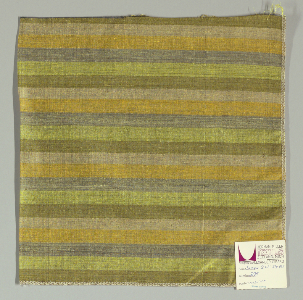 Weft-faced plain weave with doubled wefts in even horizontal stripes of grey, yellow-green, olive green, beige and yellow. Warp is comprised of very fine black threads. Number 395.