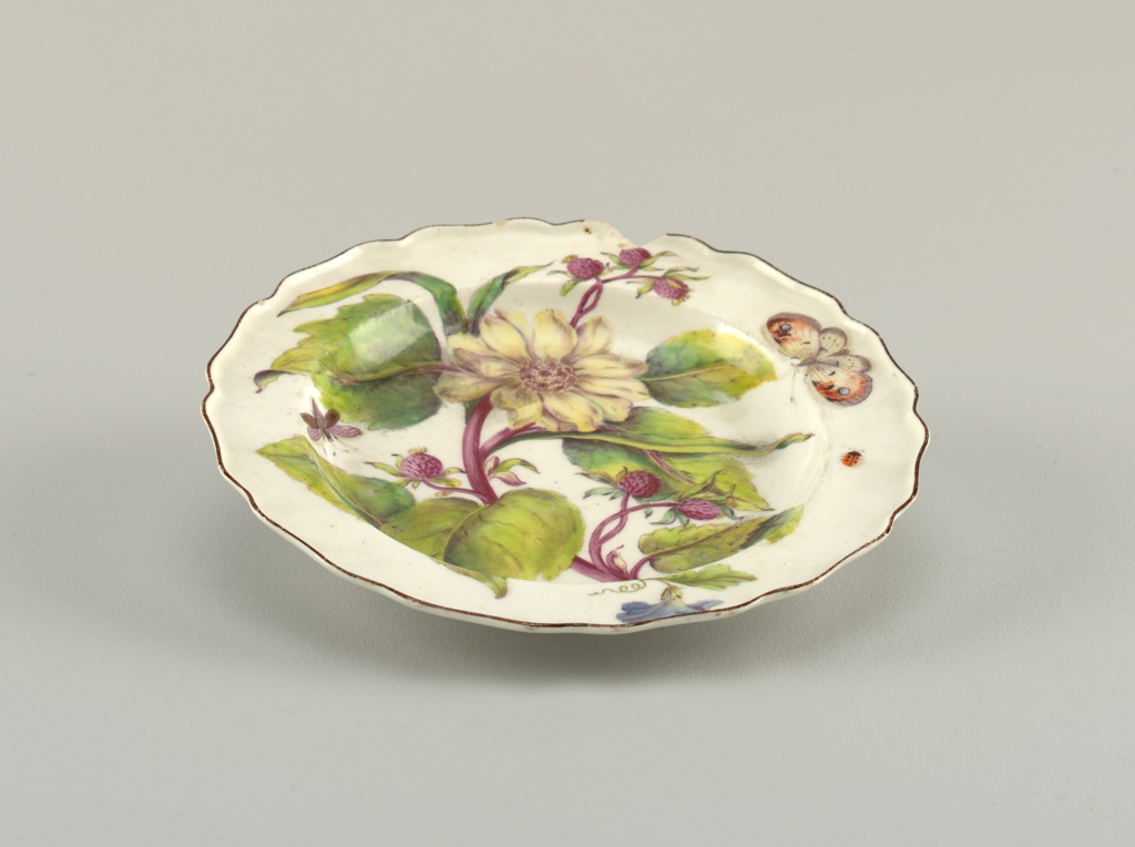 A plate with wavy, brown-edged rim painted with a large spray of sunflower (Helianthus atrorubens), showing a blossom, buds, and leaves, with various insects.