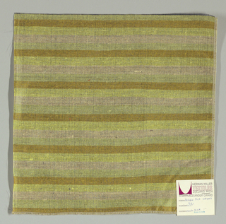 Weft-faced plain weave with doubled wefts in even horizontal stripes of tan, yellow, beige and pale yellow-green. Warp is comprised of very fine black threads. Number 381.