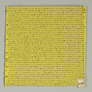 Plain weave in yellow with horizontal black stripes. Warp is comprised of thin light brown threads. Weft is comprised of yellow and black boucle yarn.