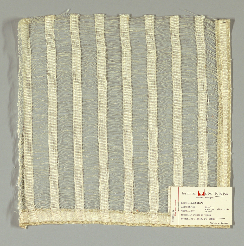 Vertical bands of plain weave in off-white are joined together by long off-white weft floats. Bands give a stripe effect. Number 429.