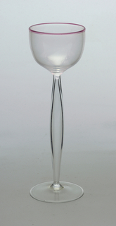 Pink rim glass with hollowed pod-shaped stem (Sherry, Port)