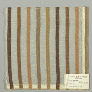Vertical bands of plain weave in dark brown, brown, tan, taupe and light brown are joined together by long off-white weft floats. Bands give a stripe effect. Number 427.