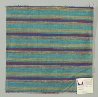 Weft-faced plain weave with doubled wefts in uneven horizontal stripes of turquoise, pale yellow, red, blue and yellow/blue mixed. Warp is comprised of very fine black threads. Number 397.