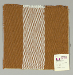 Plain weave in wide vertical stripes of tan and white. Warp threads are tan and white and weft threads are tan. Slightly loose weave structure. Number 2045.