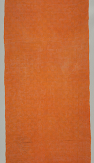Bright orange gauze weave with an allover design of bats, achieved by substituting plain weave for gauze in patterning areas.