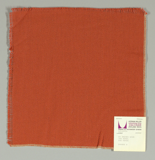Plain weave in dark orange. Slightly loose weave structure. Number 2021.