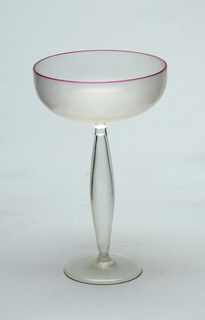 Pink rim glass with hollowed pod-shaped stem (Champagne saucer)