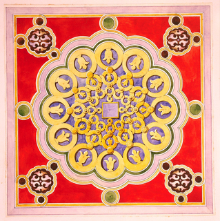 Design for a hexagonal column capital with red, blue, and gold, geometric Arabic-style ornament.