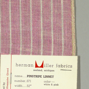 Plain weave in pink with thin vertical white stripes. Warp threads are pink and white and weft threads are white. Slightly loose weave structure. Number 671.
