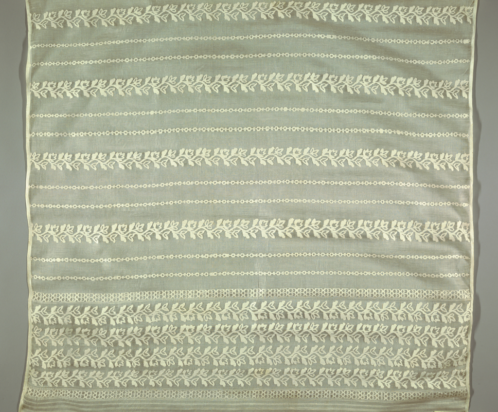 Sheer silk ground decorated with solid horizontal bands containing floral, geometric and bird motifs.