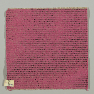Plain weave in dark pink with horizontal black stripes. Warp is comprised of thin light brown threads. Weft is comprised of dark pink and black boucle yarn.