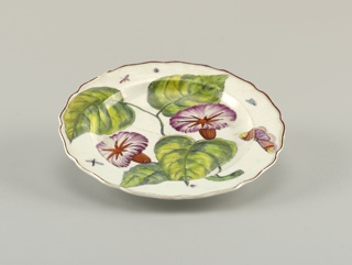 A plate with a wavy, brown-edged rim, painted with a large branch of convolvulus/bindweed (Ipomoea purpurea) and various insects.