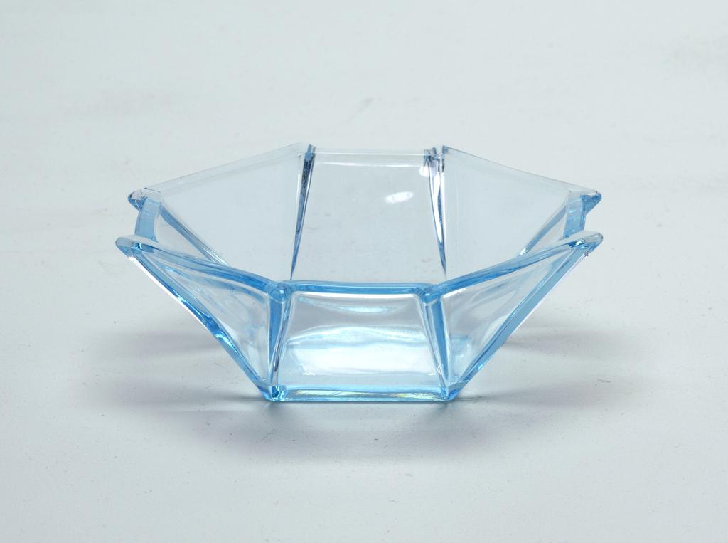 Light blue glass octogon shaped bowl