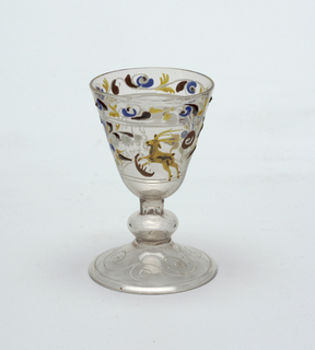Clear glass goblet with painted decoration.  Stag central figure