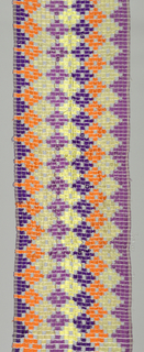 Long, narrow cloth showing brilliant colors in a lozenge pattern. Very open weave structure makes diagonally stepped square openings. Possibly machine woven. Accompanying note says it was worn by women as a carrying cloth.