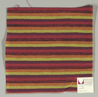 Weft-faced plain weave with doubled wefts in even horizontal stripes of orange, yellow, maroon, red and red/black mixed. Warp is comprised of very fine black threads. Number 396.