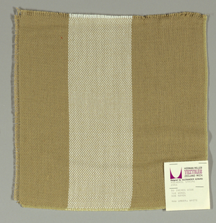 Plain weave in wide vertical stripes of beige and white. Warp threads are beige and white and weft threads are beige. Slightly loose weave structure. Number 2046.