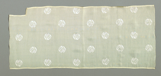 Short length of woven off-white silk with small circular floral medallions in a widely-spaced diagonal repeat on a ground of crossing diagonals suggesting basket weave. Both warp and weft threads are untwisted silk.