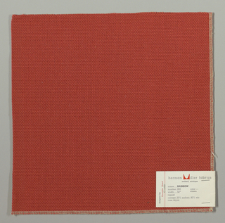 Plain weave with doubled warps and wefts in red. Weave structure adds a subtle surface texture. Number 283.
