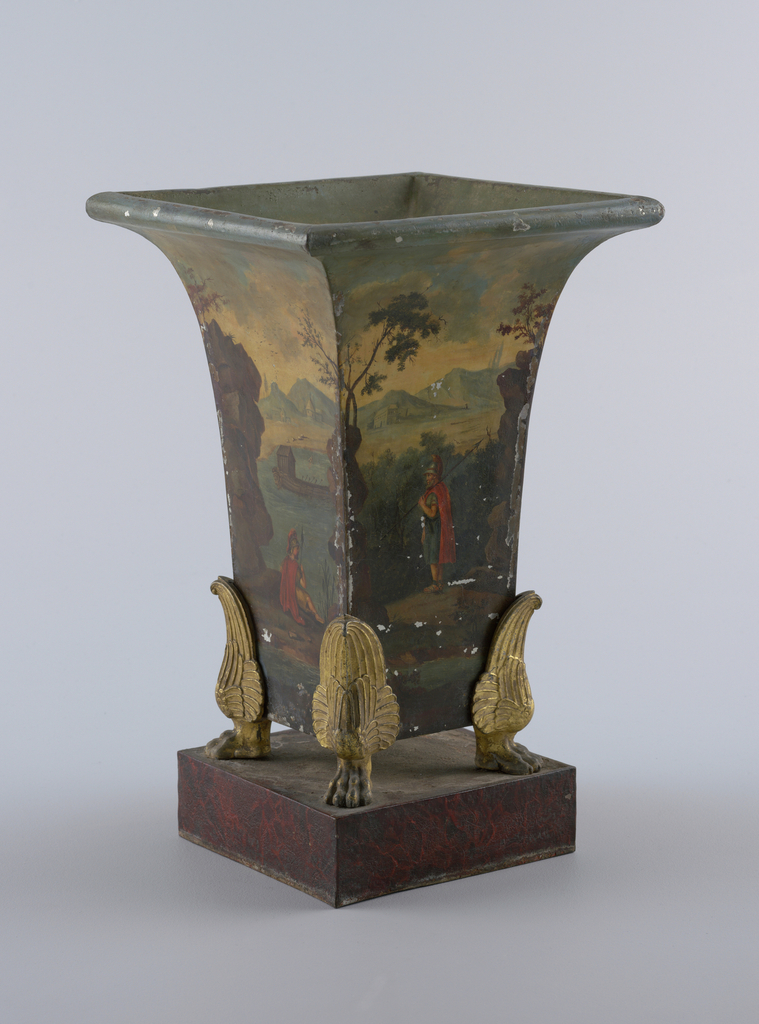 Square in plan, with flaring tops and rolled edges. Supported by four winged paws of gilt bronze, on square pedestal. Painted in colours, with classical landscapes and figures in costume of classical antiquity.