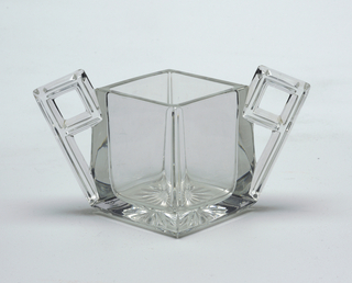 Diamond shaped sugar bowl with two handles