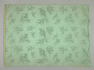 Aqua silk panel with a large scattered pattern of bamboo shoots and dogwood spray. At one end, band with woven Chinese inscription. Used as the lining fabric for 1960-5-1-a.