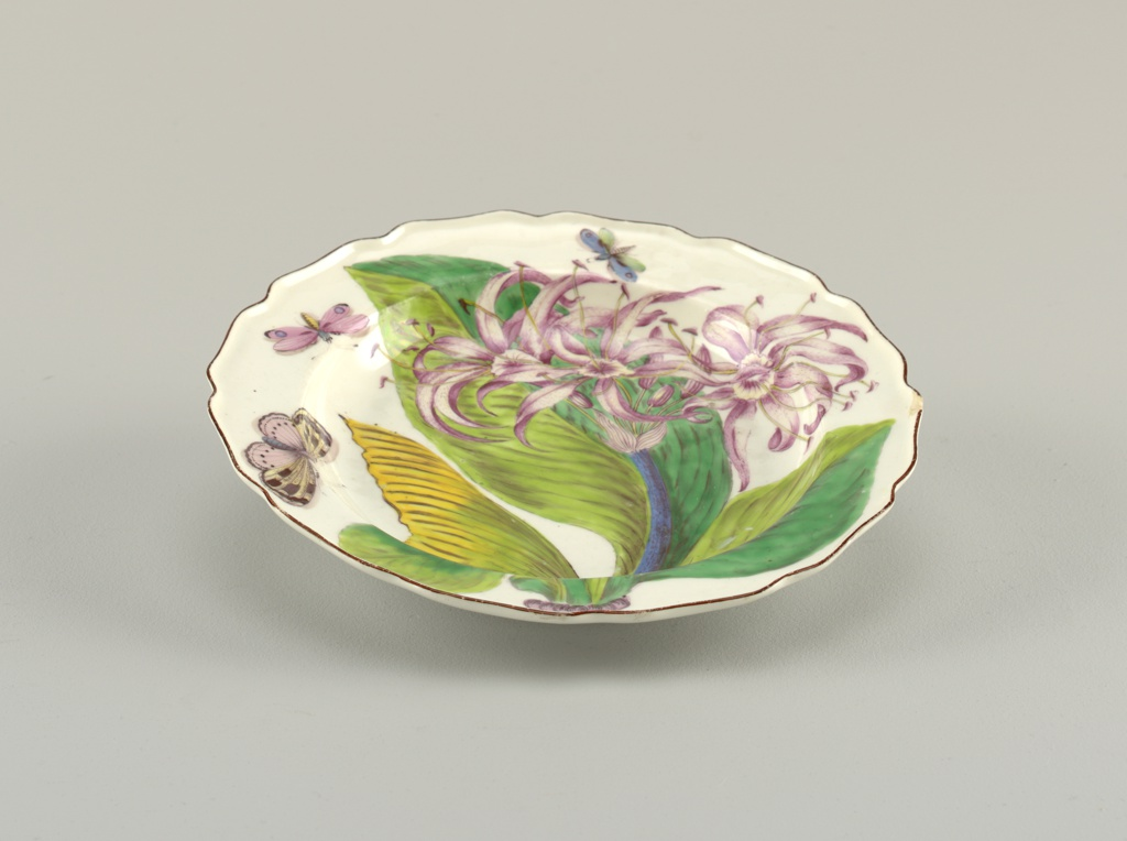 A plate with a wavy, brown-edged rim, painted with a spray of pancratium (Proiphys amboinensis), four leaves, and three winged insects.