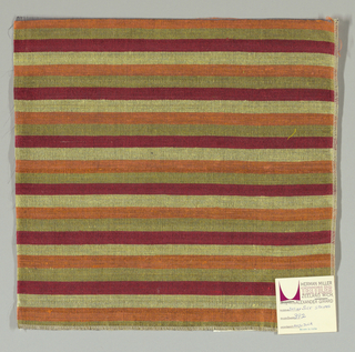 Weft-faced plain weave with doubled wefts in even horizontal stripes of dark red, pale yellow, orange and yellow-green. Warp is comprised of very fine black threads. Number 392.