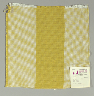 Plain weave in wide vertical stripes of dark yellow and white. Warp threads are dark yellow and white and weft threads are dark yellow. Slightly loose weave structure. Number 2047.
