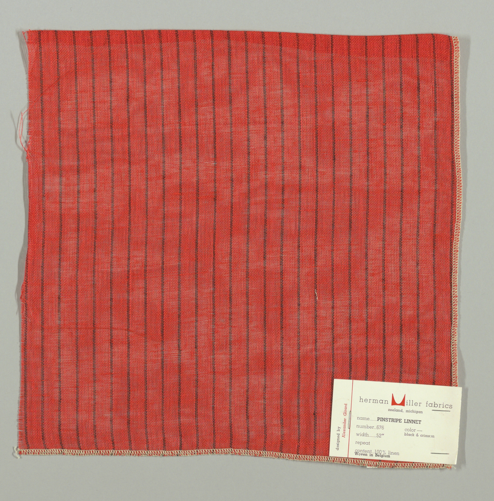 Plain weave in bright red with thin vertical black stripes. Warp threads are bright red and black and weft threads are red. Slightly loose weave structure. Number 676.