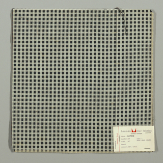 Warp-faced plain weave in white with small grey squares. Grey squares are formed by supplementary weft floats.