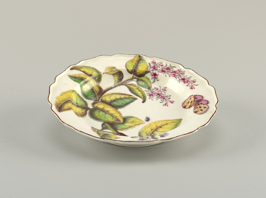 A plate with a wavy, brown-edged rim, painted with a large flowering branch, a small sprig of blue morning glory, and insects.