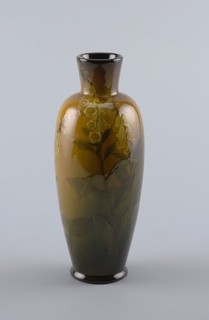 Cast white clay body.  Elongated ovoid body with raised cylindrical neck, slightly flaring; circular foot.  Underglazed slip-decoration on front with three stalks of golden yellow foxgloves, with green leaves and stems.  Central stalk extends over shoulder and onto neck.  Background shaded from green at base to gold at shoulder.  Allover yellow glaze; fine crackle.  Bottom and interior glazed.