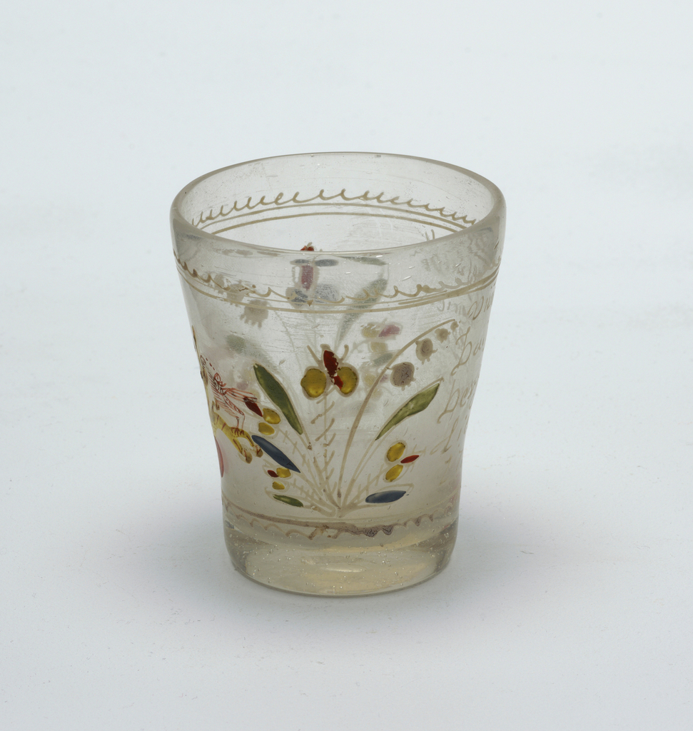 Clear glass beaker with painted decoration.  Flowers and birds.