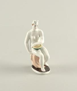 Seated Nude Holding Bowl Figure
