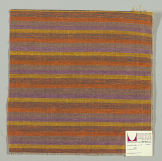 Weft-faced plain weave with doubled wefts in uneven horizontal stripes of orange, light brown, violet, yellow, and orange/blue mixed. Warp is comprised of very fine black threads. Number 391.