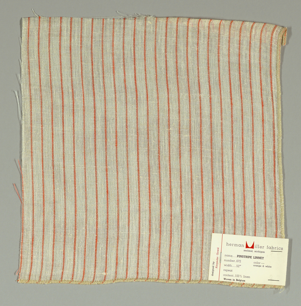 Plain weave in white with thin vertical orange stripes. Warp threads are white and orange and weft threads are white. Slightly loose weave structure. Number 672.