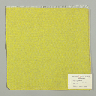 Plain weave in bright yellow. Warp is comprised of fine white threads while the weft has heavier bright yellow yarns. Number 435.