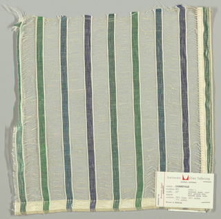 Vertical bands of plain weave in metallic blues and greens are joined together by long off-white weft floats. Bands give a stripe effect. Number 475.
