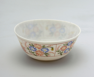 White glass bowl with painted decoration.  Chinoiserie man tending to a bird flanks 2 sides of bowl.