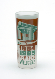 "Tall, slightly tapering cylindrical form of clear ""frosted"" glass with brown and aqua enamel decoration showing the Port Authority Building, ""1964/1965/NEW YORK/WORLD'S FAIR,"" and Unisphere logo; aqua panel with brief paragraph about the building on reverse."