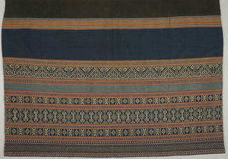 Plain black ground with wide bands of light and dark blue. One end has multiple supplementary weft patterned bands with geometric figures in tan and off-white on dark blue. These bands alternate with narrow weft stripes in red, orange, and light blue.