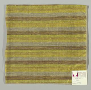 Weft-faced plain weave with doubled wefts in uneven horizontal stripes of light yellow, dark yellow, yellow, beige and brown/yellow mixed. Warp is comprised of very fine black threads. Number 382.