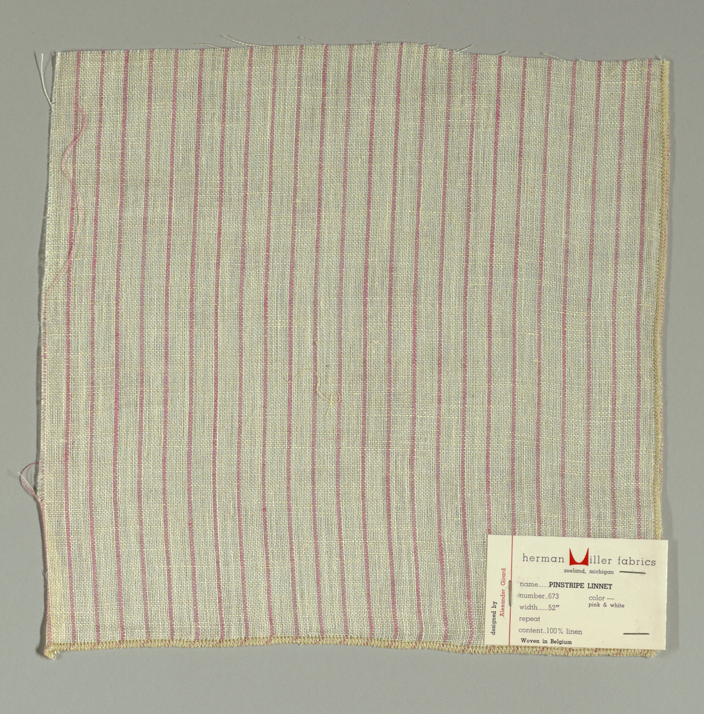 Plain weave in white with thin vertical pink stripes. Warp threads are white and pink and weft threads are white. Slightly loose weave structure. Number 673.